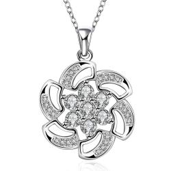 Vienna Jewelry Sterling Silver Swirl Floral Emblem Drop Necklace - Thumbnail 0