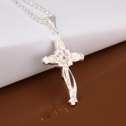 Vienna Jewelry Sterling Silver Curved Cross Drop Necklace - Thumbnail 0
