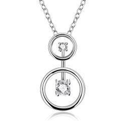 Vienna Jewelry Sterling Silver Duo-Crystal Jewels Pendant Necklace - Thumbnail 0