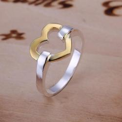 Vienna Jewelry Golden Hollow Heart Shaped Sterling Silver Ring Size: 7 - Thumbnail 0