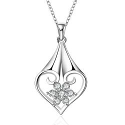Vienna Jewelry Sterling Silver Laser Cut Pendant Drop Necklace - Thumbnail 0