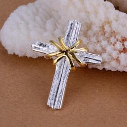Vienna Jewelry Sterling Silver Gold Covering Cross Pendant - Thumbnail 0