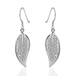 Vienna Jewelry Sterling Silver Leaf Drop Earring - Thumbnail 0