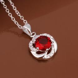 Vienna Jewelry Sterling Silver Curved Ruby Gem Emblem Necklace - Thumbnail 0