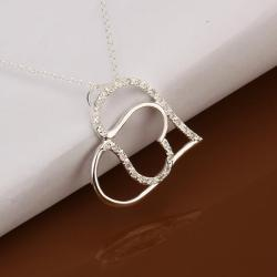 Vienna Jewelry Sterling Silver Duo Hear Shaped Emblem Necklace - Thumbnail 0