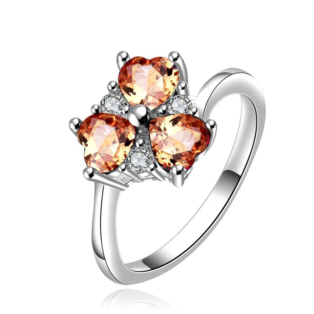 Vienna Jewelry Sterling Silver Trio-Orange Citrine Gem Clover Petite Ring Size: 8