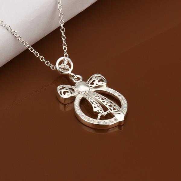Vienna Jewelry Sterling Silver Love Knot Pendant Necklace