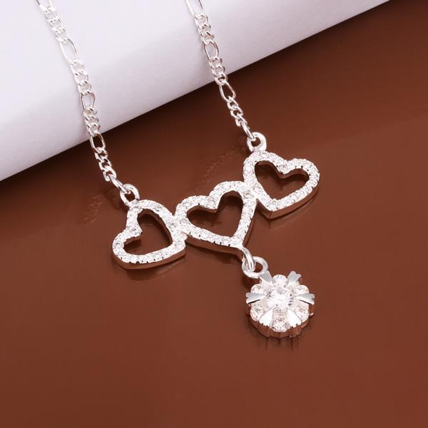 Vienna Jewelry Sterling Silver Trio-Hollow Heart Drop Necklace