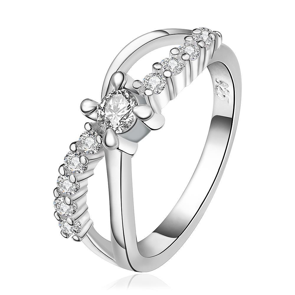 Vienna Jewelry Sterling Silver Curved Crystal Jewels Lining Ring Size: 8
