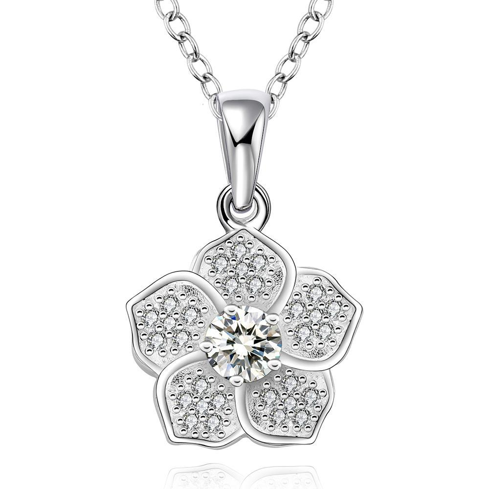 Vienna Jewelry Sterling Silver Classic Floral Petal Drop Necklace