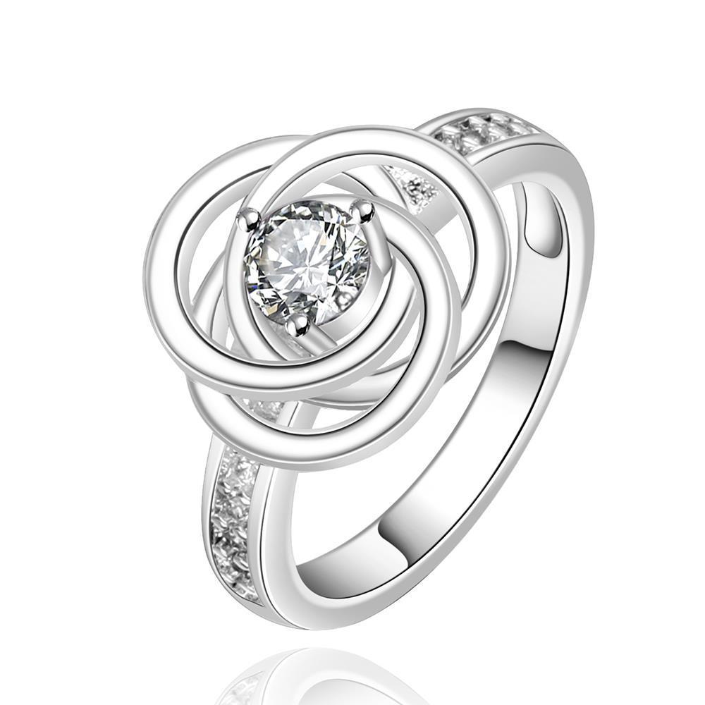 Vienna Jewelry Sterling Silver Crystal Jewel Swirl Emblem Ring Size: 8