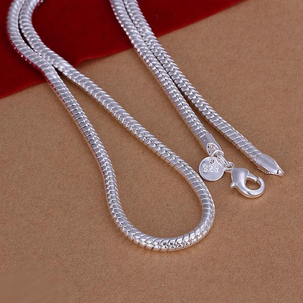 Vienna Jewelry Sterling Silver Snake Design Connecting Chain Necklace