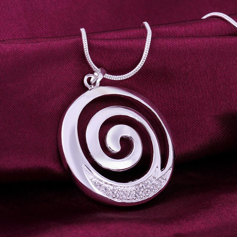 Vienna Jewelry Sterling Silver Swirl Design Emblem Necklace
