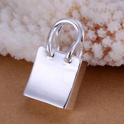 Vienna Jewelry Sterling Silver Petite Shopping Bag Pendant - Thumbnail 0