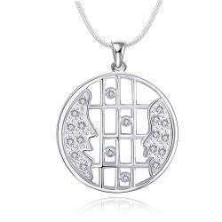 Vienna Jewelry Sivler Tone Horizontal Laser Cut Emblem Drop Necklace - Thumbnail 0