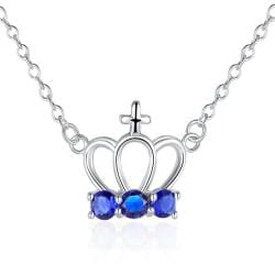 Vienna Jewelry Sterling Silver Sapphire Gem Crown Pendant Necklace - Thumbnail 0