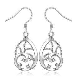 Vienna Jewelry Sterling Silver Abstract Curved Filligree Earring - Thumbnail 0