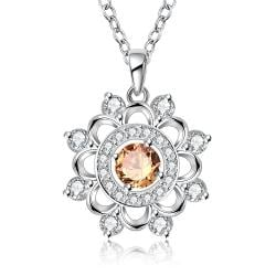 Vienna Jewelry Sterling Silver Circular Orange Citrine Snowflake Pendant Necklace - Thumbnail 0