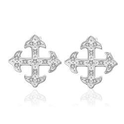 Vienna Jewelry Sterling Silver Onyx Cross Setting Stud Earring - Thumbnail 0