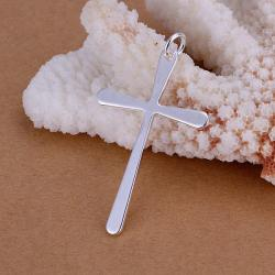 Vienna Jewelry Sterling Silver Thin Cross Pendant - Thumbnail 0