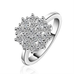 Vienna Jewelry Sterling Silver Blossoming Crystal Floral Ring Size: 7 - Thumbnail 0