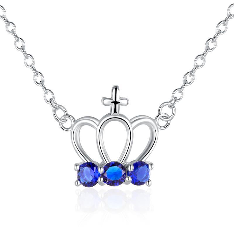 Vienna Jewelry Sterling Silver Sapphire Gem Crown Pendant Necklace