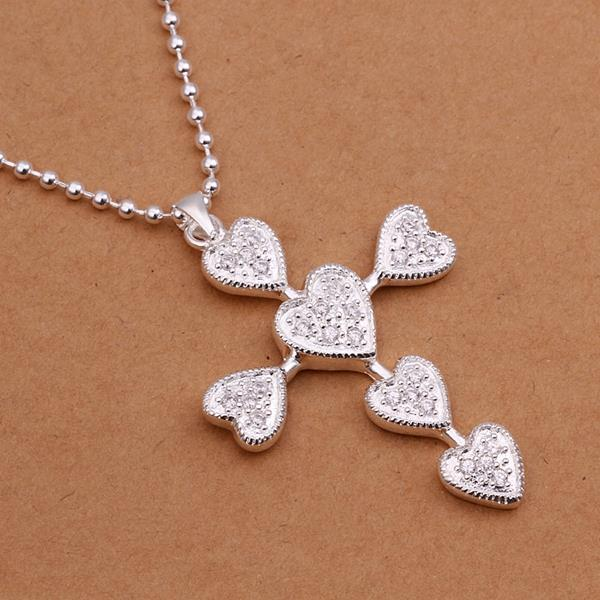 Vienna Jewelry Sivler Tone Heart Emblem Cross Drop Necklace