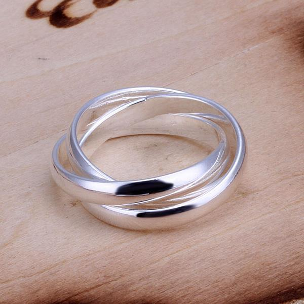 Vienna Jewelry Sterling Silver Multi Lined Interlocked Ring Size: 6