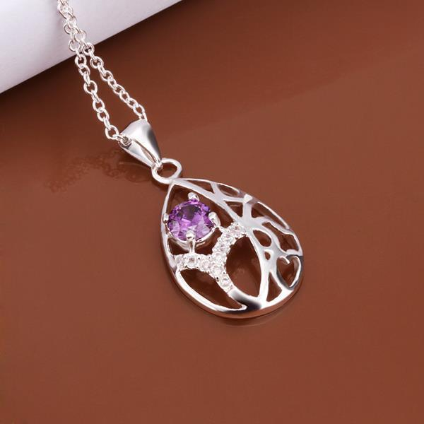 Vienna Jewelry Sterling Silver Purple Citrine Laser Cut Emblem Drop Necklace