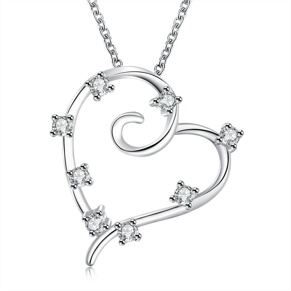 Vienna Jewelry Sterling Silver Crystal Insert Heart Shaped Pendant Necklace