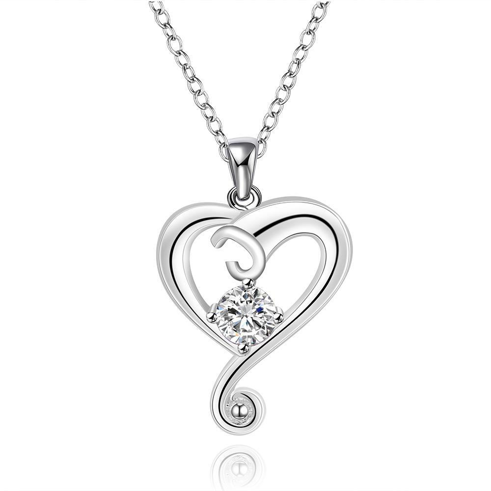 Vienna Jewelry Sterling Silver Classic Crystal Curved Heart Dangling Drop Necklace