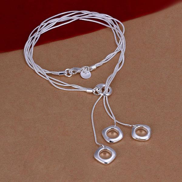 Vienna Jewelry Sterling Silver Trio-Square Drop Necklace