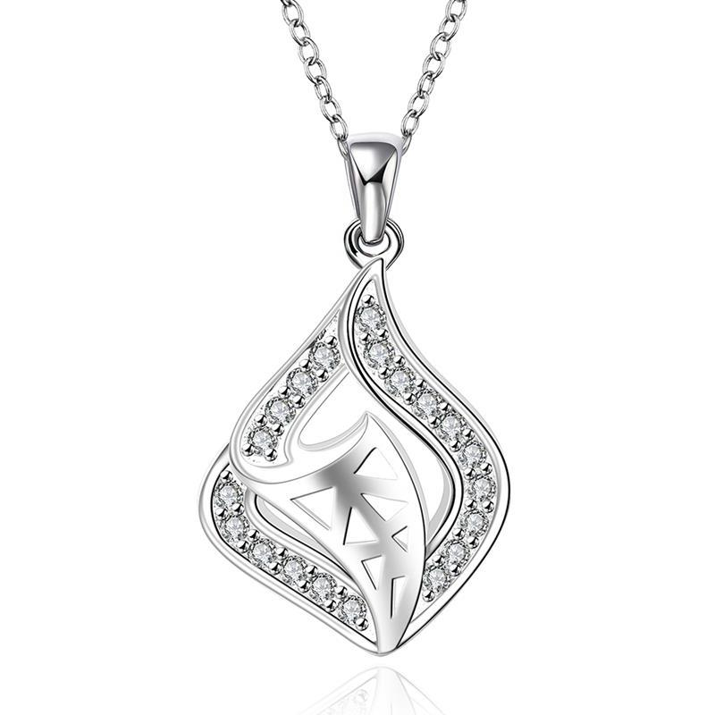 Vienna Jewelry Sterling Silver Curved Laser Cut Pendant Necklace