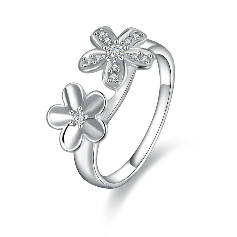 Vienna Jewelry Sterling Silver Duo-Clover Petite Ring Size: 8