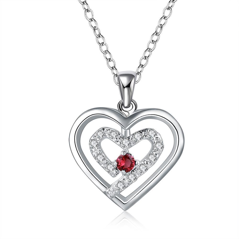 Vienna Jewelry Sterling Silver Petite Ruby Gem Curved Heart Design Necklace