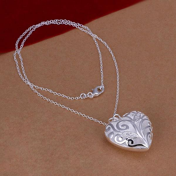 Vienna Jewelry Sterling Silver Laser Cut Heart Shaped Drop Necklace