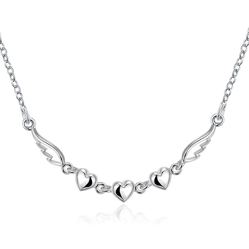 Vienna Jewelry Sterling Silver Muli-Heart Pendant Dangling Necklace
