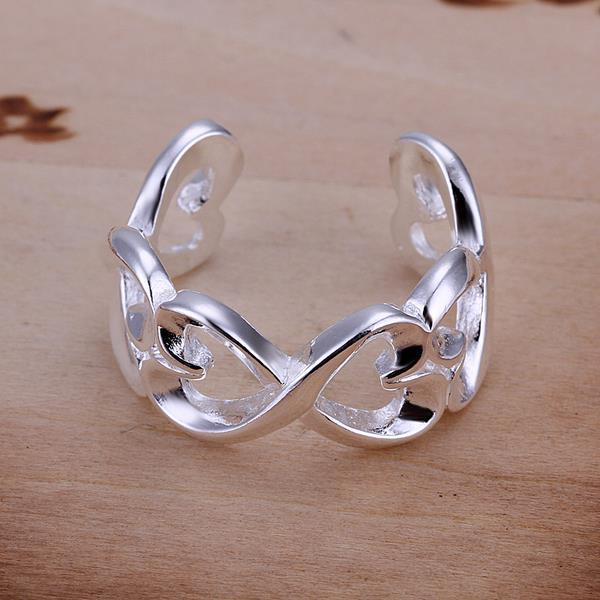 Vienna Jewelry Sterling Silver Open Clasp Trio-Heart Design Petite Resizable Ring