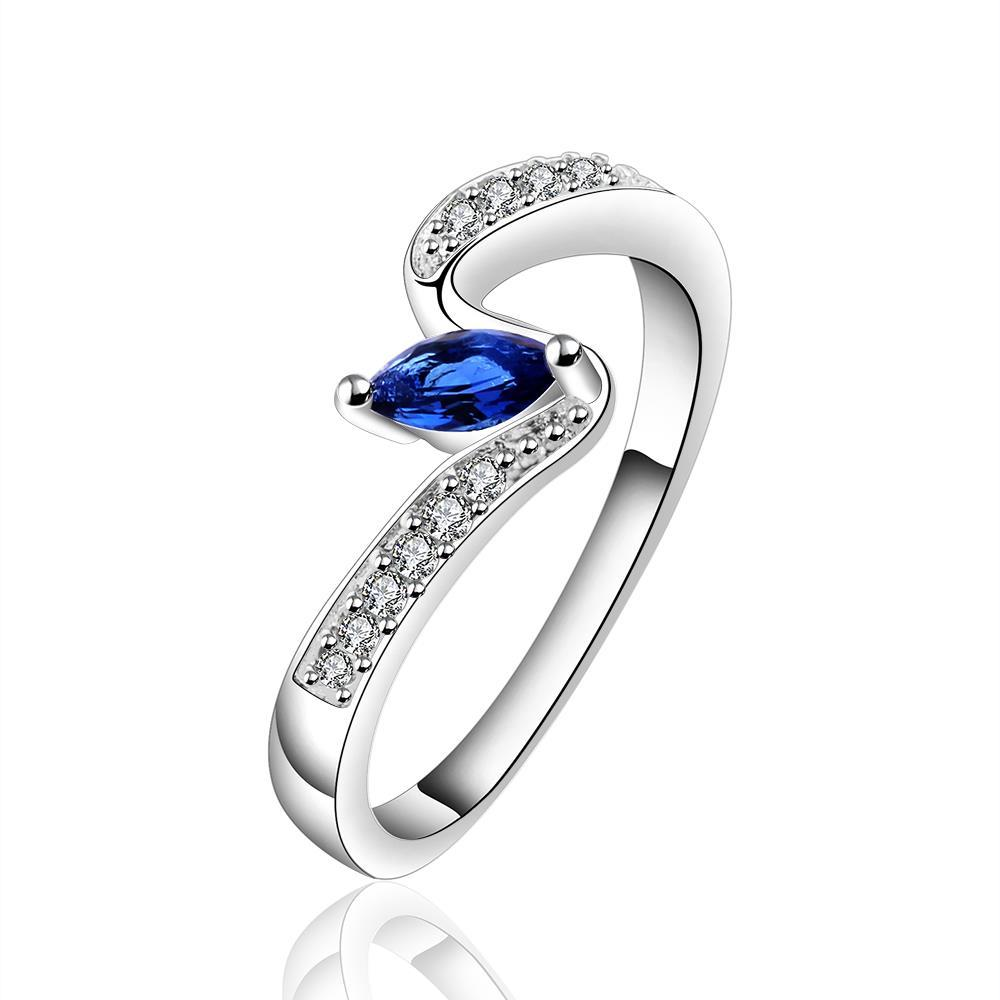 Vienna Jewelry Sterling Silver Petite Sapphire Gem Swirl Ring Size: 7