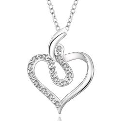 Vienna Jewelry Sterling Silver Curved Crystal Filled Heart Necklace - Thumbnail 0