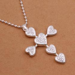 Vienna Jewelry Sivler Tone Heart Emblem Cross Drop Necklace - Thumbnail 0