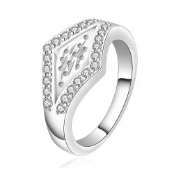 Vienna Jewelry Sterling Silver Diamond Shaped Emblem Petite Ring Size: 8 - Thumbnail 0