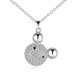 Vienna Jewelry Sterling Silver Pav'e Inspired Mouse Ears Necklace - Thumbnail 0