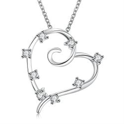Vienna Jewelry Sterling Silver Crystal Insert Heart Shaped Pendant Necklace - Thumbnail 0