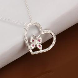 Vienna Jewelry Sterling Silver Butterfly Hollow Heart Drop Necklace - Thumbnail 0