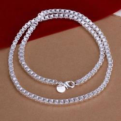 Vienna Jewelry Sterling Silver Connected Cubed Chain Necklace - Thumbnail 0