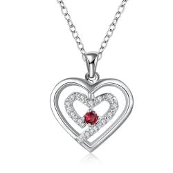 Vienna Jewelry Sterling Silver Petite Ruby Gem Curved Heart Design Necklace - Thumbnail 0