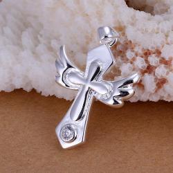 Vienna Jewelry Sterling Silver Cross Emblem Pendant - Thumbnail 0