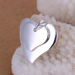 Vienna Jewelry Sterling Silver Duo Classic Heart Pendant - Thumbnail 0