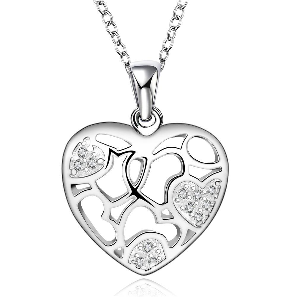 Vienna Jewelry Sterling Silver Laser Cut Hollow Petite Heart Necklace